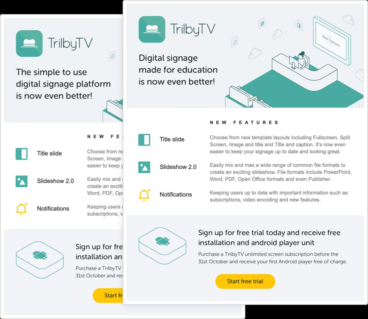 Email templates TrilbyTV