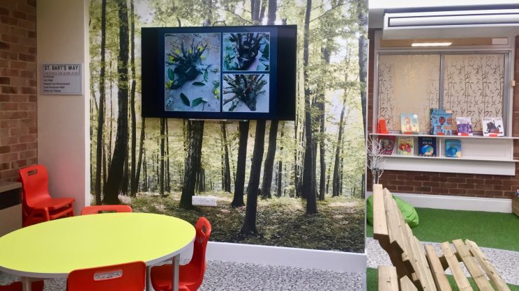 A picture of St Bartholomew's Primary Academy, showcasing their TrilbyTV digital signage.