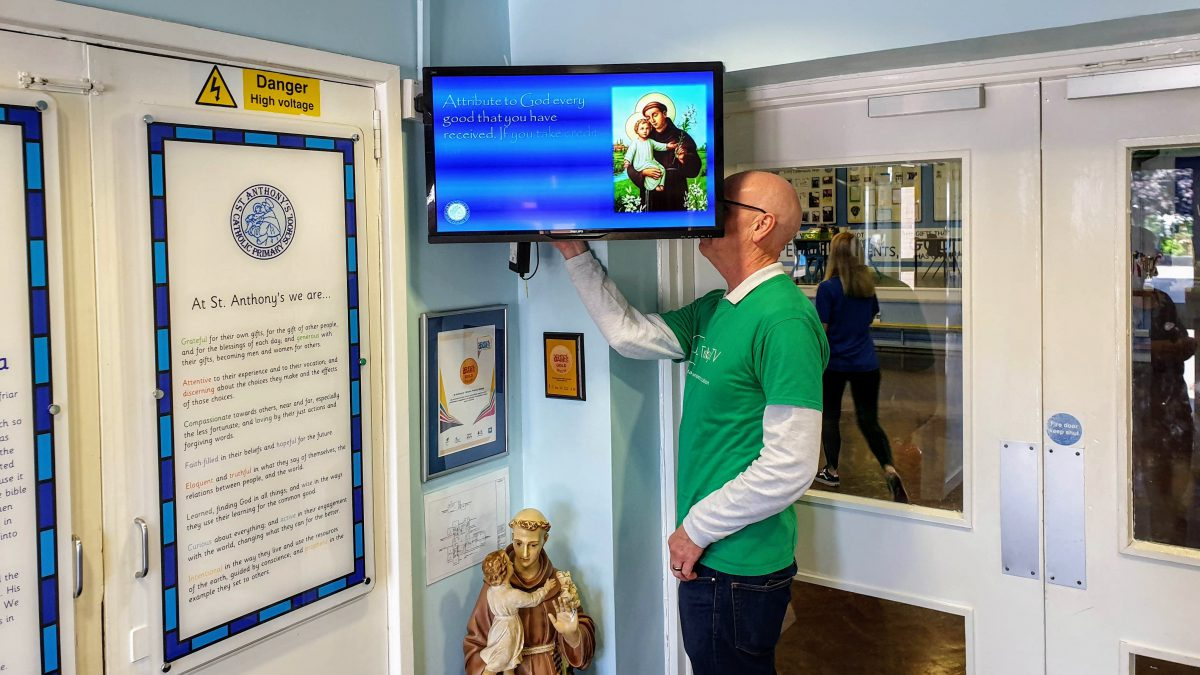 Images from St. Anthony's Primary School showcasing their Digital Signage.
