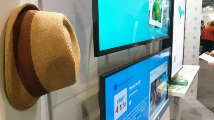 A picture of a Trilby TV hat with digital signage screens at Bett 2020