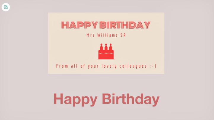 A Happy Birthday message produced by Adobe Spark