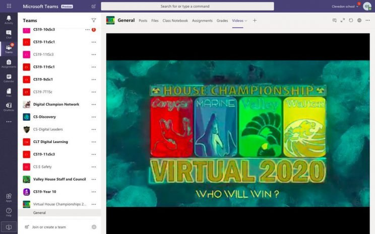 A picture of Virtual 2020 on Microsoft Teams web player