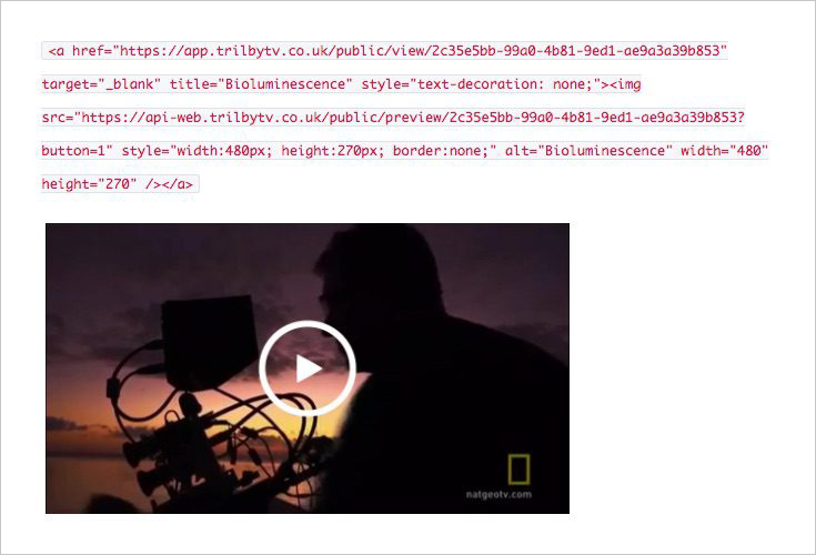 A picture of embed code, added to TrilbyTV using public links